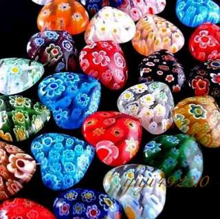 material millefiori glass size 10mm color mixed color shape heart hole