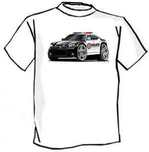 Dodge Charger Police Car Muscle Car Cartoon Tshirt FREE