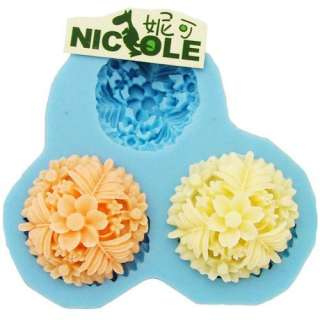 9013 Soft Silicone Handmade Soap Candle Mold Mould   3 cavity flowers