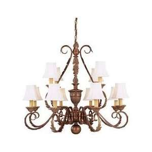 Hampton Bay Bronze w/ Linen Shades 8 + 4 Light Chandelier