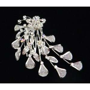 Crystal Flowers With Silvery Leaves And Crystal Hair Comb