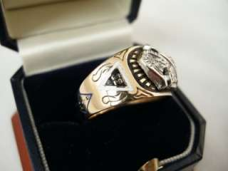 & Diamond Mens Masonic Ring ~Scottish Rite Masons 32 Degree