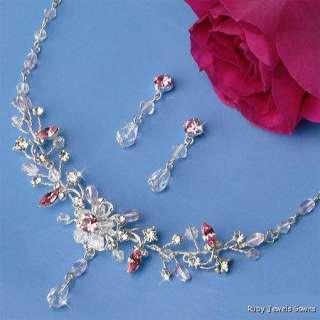Couture PINK Crystal Bridal Wedding Jewelry & Tiara Set