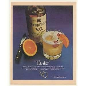 1982 Seagrams V.O. Whisky Sour Taste Bottle Glass Print