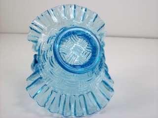 Vintage Blue Art Glass Handled Basket Candy Dish Ruffled Rim