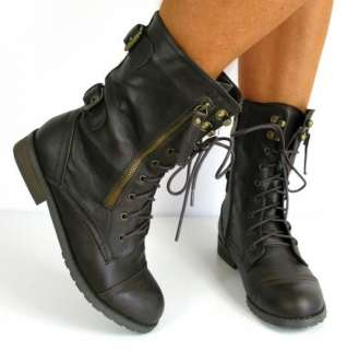 WOMAN FLAT LACE UP ARMY BIKER ANKLE BLACK LADIES MILITARY BOOTS SIZE 3