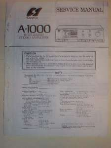 Sansui Service Manual~A 1000 Amplifier~Original