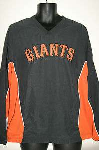MLB San Francisco Giants Black V Neck Pullover Windbreaker Jacket