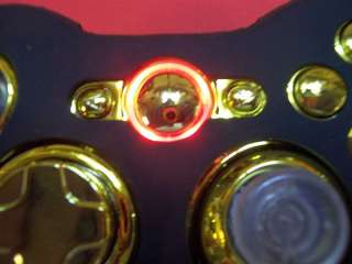 Custom Xbox 360 wireless controller   Full Gold with Red LEDs + Skin
