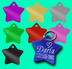 SMALL STAR *Custom Engraved* Pet ID Name Tag Dog Cat