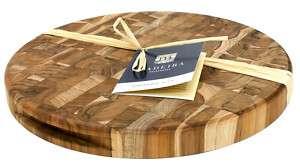 Madeira Teak Edge Grain Round Chop Block Cutting Board