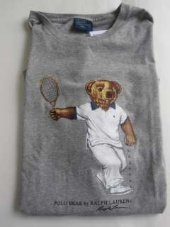 Polo Ralph Lauren Teddy Bear T Shirt Tee Top Grey Tennis Graphic Teddy