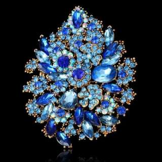 ARINNA sapphire blue floral flower shape brooch pin gold GP swarovski