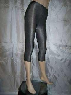 L4 Black Silver 80s Stretch Dance Leggings Tights S/M/L