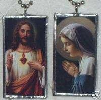 SACRED HEART JESUS / VIRGIN MARY ART GLASS PENDANT