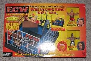 ROB VAN DAM & SABU ECW FIGURE SET + CAGE & RING WWE WWF