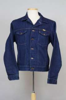 Vtg Rustler Dark Blue Denim Jean Jacket Indian Coat M