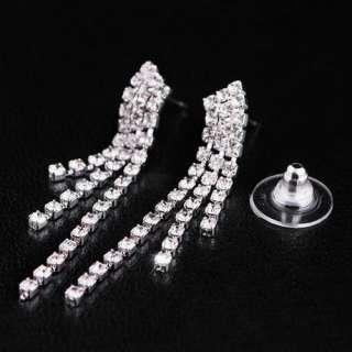 Tassels Y Style Jewelry Necklace Earrings Set Inlay Czech Rhinestone