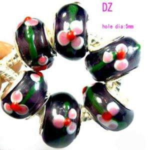 P1157 6pc Lovely Flower Lampwork glass Loose Charm bead
