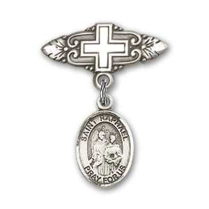 St. Raphael the Archangel Charm and Badge Pin with Cross St. Raphael