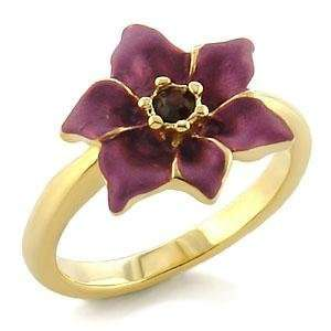 White Metal Gold Plated Ring with Amethyst CZ   Flower