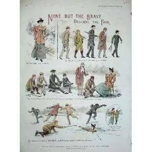 1894 Colour Print Ice Skating Men Women Arthur Hopkins
