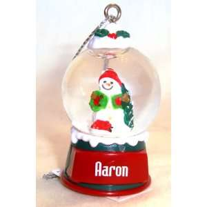 Aaron Christmas Snowman Snow Globe Name Ornament