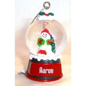 Aaron Christmas Snowman Snow Globe Name Ornament