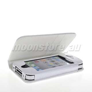 CROCODILE LEATHER WALLET FLIP POUCH CASE COVER FOR APPLE IPHONE 4 4S