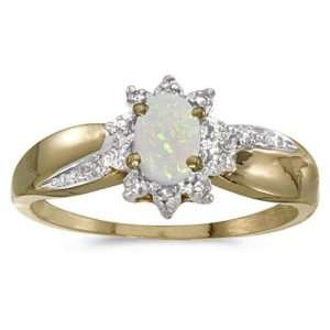 14k Yellow Gold October Birthstone Oval Opal And Diamond