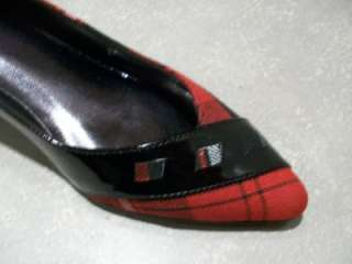 Classy Red Plaid & Black Patent Pumps/ Shoes/ 2 Heel 7