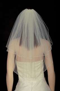 2T White /Ivory Wedding Bridal Veil Rhinestone Tiara ir