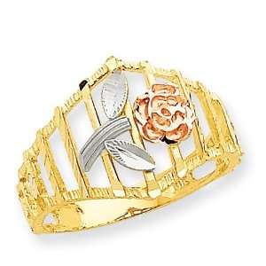 Diamond Cut Flower Ring in 14k Tri color Gold Jewelry
