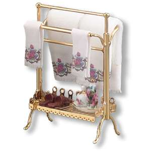 Dollhouse Miniature Reutter Brass Towel Stand Set
