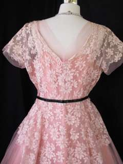 Vtg 50s PinK LACE Tulle Bombshell FiT FLARE Cocktail Party WeDDing