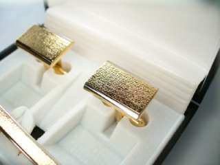 CUFFLINKS GOLD FLORENTINE RECTANGLE TIE BAR GIFT BOX WEDDING FORMAL