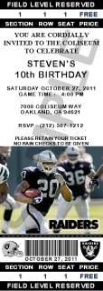 24 Oakland Raiders Birthday Ticket Invitations