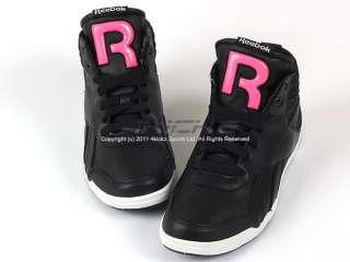 Reebok Roxity Mid Black/Neon Pink/White Womens Classic Casual Sneaker