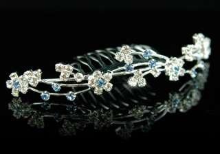Bridal Blue Clear Crystal Rhinestone Tiara Comb T1130