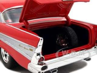 1957 CHEVROLET BEL AIR STREET HOT ROD RED/FLAMES 1/25