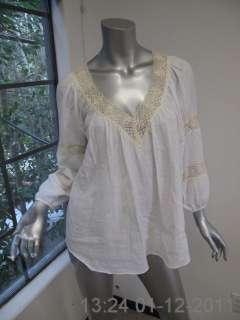 Rebecca Taylor White Long Sleeve Ivory Crochet V Neck Blouse 4