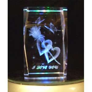 I Love You Laser Etched Crystal Cube