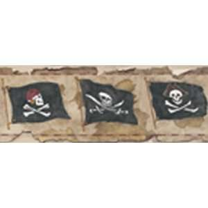 Skull and Crossbones Flags Brown Wallpaper Border in Brothers and