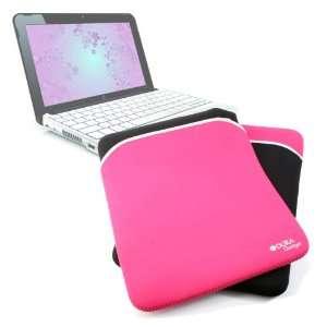 Durable Black & Pink Reversible Neoprene Laptop Pouch For HP Mini 110