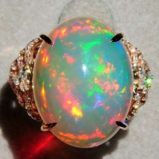 3Ct Natural Opal 18K Rose Gold Diamond Exquisite Rarely Seen Ring COL5