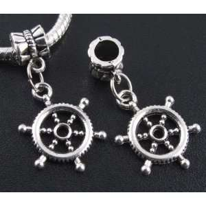 Silver Ship Steering Wheel Dangle Charm Bead for Bracelet