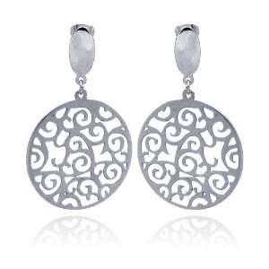 Stainless Steel Filigree Design Dangle Earring Jewelry