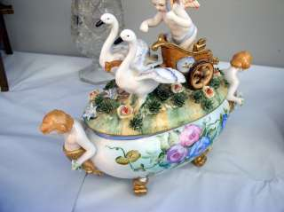 Rare German style Dresden Porcelain Angel On A Chariot w/CHERUBS and