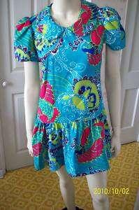 Vintage Multi Color Drop Waist Dress 50s 60s