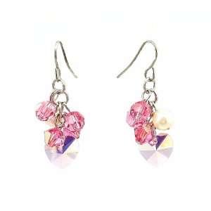 Earrings   E18   Swarovski Crystal Heart & Pearl Cluster
